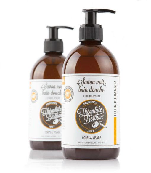 Black body wash soap. 80% olive pomace oil. Orange blossom